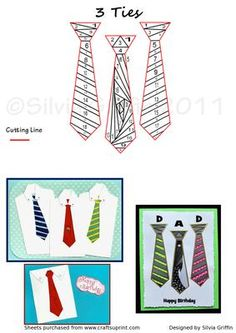 Three Ties on Craftsuprint designed by Silvia Griffin - Many variations possible with this easy to cut and quick to make pattern. Great for all your males in your family or circle of friends. - Now available for download!