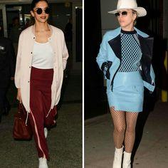 Duas lindas inspirações para passeio e eventos.✨ Deepika Padukone veste um aero look pastel e vinho de #topshop, #hm e #ysl. E a Lady Gaga veste um conjuntinho azul, #versace com botas e chapéu brancos. #creative #fashion #style #deepikapadukone #ladygaga