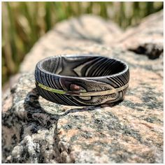 New Wide Damascus Steel Ring with Solid White Gold Inlay Custom Jewelry, Jewelry Art, Unique Jewelry, Damascus Wedding Band, Thing 1, Damascus Steel, Jewelry Companies, Wedding Bands, Wedding Tips