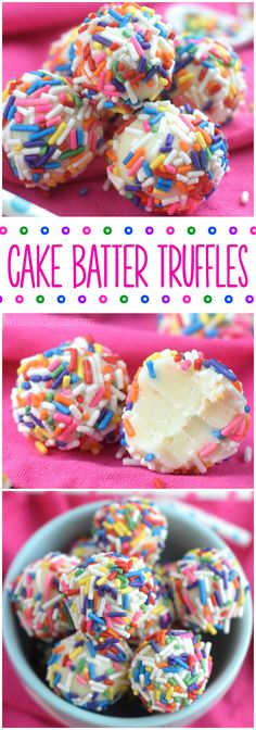 Cake Batter Truffles are made in the microwave! And so so so yummy! Good luck only eating one!These Cake Batter Truffles are made in the microwave! And so so so yummy! Good luck only eating one! Köstliche Desserts, Delicious Desserts, Dessert Recipes, Yummy Food, Birthday Desserts, Cake Recipes, Plated Desserts, Healthy Food, Dinner Recipes
