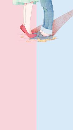 The post wallpaper 87 appeared first on Fosforlu Düşünceler! Art Love Couple, Anime Love Couple, Cute Anime Couples, Cute Couple Wallpaper, Trendy Wallpaper, Love Wallpaper, Iphone Wallpaper, Couple Illustration, Illustration Art