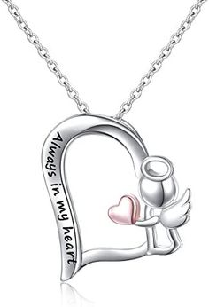 Sterling Silver Always in My Heart Fairy Angel Wing Memorial Necklace for Women Girlfriend Daughter