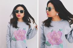 DIY: faux cross stitch rose sweatshirt