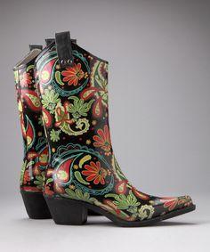Black Paisley Yippy Rain Boot    $24.99 original $59.00