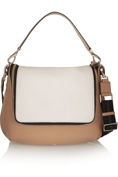 Anya Hindmarch|Maxi Zip two-tone textured-leather shoulder bag|NET-A-PORTER.COM