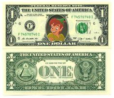 PETER-PAN-VRAI-BILLET-1-DOLLAR-US-COLLECTION-WALT-DISNEY-Serie-Dessins-Anime 100 Dollar Bill, Dollar Money, One Dollar, Dollar Bills, Dollar Usa, Dollar Tree, George Washington, Printable Play Money, Money Template