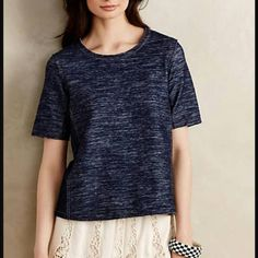 ||ZOA New York|| Washed Denim Tee ZOA New York Washed Denim Tee. Unfinished/Raw edges. Both edgy and fab!  Size XL. Can fit M-L too, IMO! Anthropologie Tops