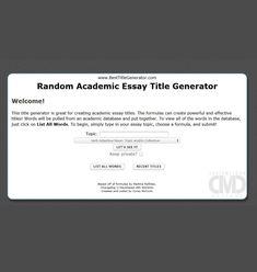 Random essay title generator