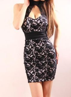 Vinosc tight low-cut sexy lace stitching package hip halter,  Dress, Sexy Party Women Fashion Dress, Chic