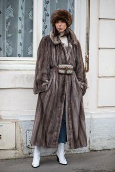 Statement fur coat from Parish Fall 18 fashion week street style