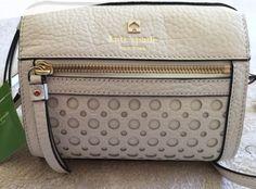 Kate Spade Looloo Perri Lane Bubbles Cremadevie Leather Crossbody for sale online Designer Sale, Kate Spade Purse, Leather Crossbody Bag, Diaper Bag, Dust Bag, Bubbles, Satchel, Auction, Beige