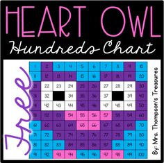 Grab the crayons and have fun practicing colors and numbers on the 100s chart with this cute heart owl. Perfect for Valentine's Day! Comes in 4 versions so you can differentiate as needed.