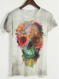 Grey Hot Sale Men Very Cool Skull Printed Short Sleeve T-Shirts M/L/XL 509-T23