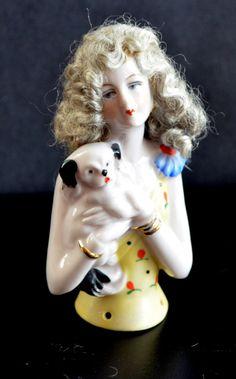Half Doll, German Half Doll, Pincushion Doll, Pin Cushion Doll, Antique Doll, Flapper Holding Dog, Mohair Wig Half Doll, Fasold & Stauch by ChristiesCurios on Etsy https://www.etsy.com/listing/249403425/half-doll-german-half-doll-pincushion