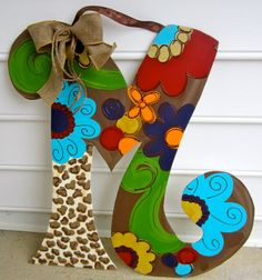 Wooden Door Hanger Initial Door Hanger by paintchic on Etsy I wanna make this!, Wooden Door Hanger Initial Door Hanger by paintchic on Etsy I wanna make this! Letter Door Hangers, Initial Door Hanger, Door Letters, Burlap Door Hangers, Painted Letters, Wooden Letters, Letter Monogram, Craft Letters, Painted Initials