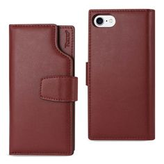 REIKO IPHONE 7 GENUINE LEATHER WALLET CASE WITH OPEN THUMB CUT IN BURGUNDY