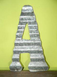 A - Vintage Antique Roofing Tin Letter A by JunkFX Free Shipping