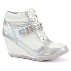 Silver Stud Strap Concealed Wedge Hi-Tops ($15) ❤ liked on Polyvore featuring shoes, sneakers, silver, silver shoes, metallic sneakers, metallic wedge sneakers, sports shoes and hi top wedge sneakers