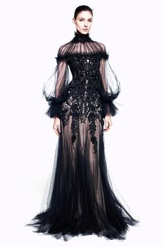 Alexander McQueen Pre-Fall 2012  This much black isn't my style but SO dramatic!
