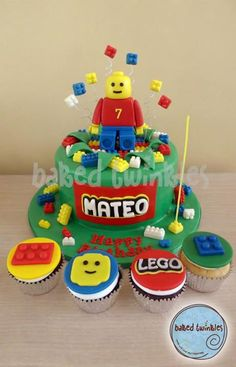 lego cake and cupcakes
