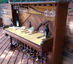 Gorgeous Repurposed Handmade Vintage Piano Wine Bar by sgwoodworks