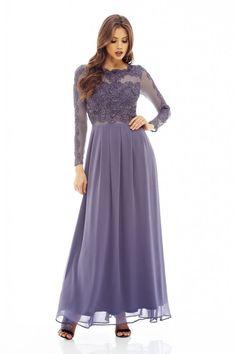 AX Paris Womens Grey Long Sleeved Lace Top Maxi Dress Stylish Ladies Fashion