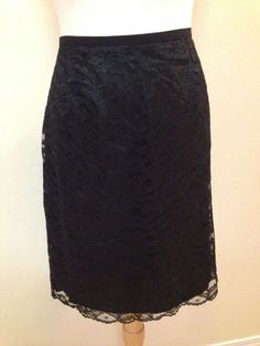 Maggy London Size 16 Black Skirt Lace  Floral Lined  #MaggyLondon #ALine