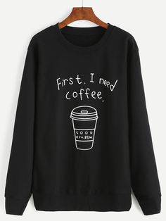 Shop Coffee Cup Letter Print Sweatshirt online. SheIn offers Coffee Cup Letter Print Sweatshirt & more to fit your fashionable needs.