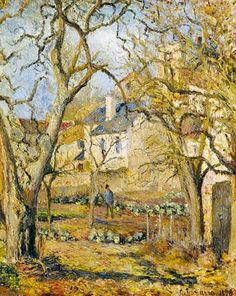 Camille Pissarro Solid-Faced Canvas Print Wall Art Print entitled The Vegetable Garden, 1878 Claude Monet, Paul Gauguin, Garden Painting, Garden Art, Camille Pissarro Paintings, French Artists, Art Plastique, Land Scape, Art Museum