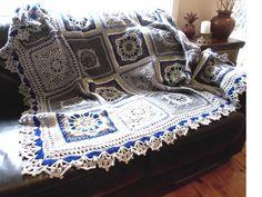 ❁❁ Inverno Flor Crochê Afegãos Crochê Cobertor -  / ❁❁ Winter Flower Crochet Afghan Blanket Crocheting -