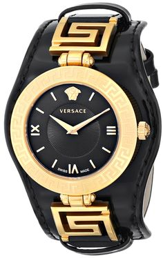 Versace Women's VLA020014 V-SIGNATURE Analog Display Swiss Quartz Black Watch