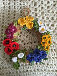 Wild Flower wreath -Corn Marigolds, Oxeye  Daisies, Buttercups, Cornflowers, Bindweed, Poppies and Red campion