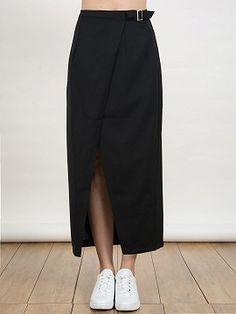 Shop Black Belt Waist Wrap Front Maxi Pencil Skirt from choies.com .Free shipping Worldwide.$12.9