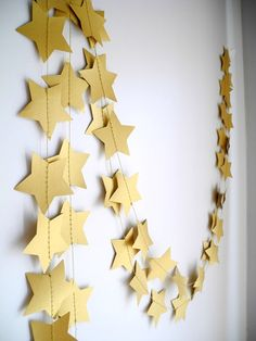 Gold Bronze Star Garland Holiday decoration Gold by HoopsyDaisies