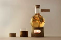 Glow Set is a luminous tea brewing. The aim of the project is to maximize the luminance and heat potential of a small candle. The tea set celebrates the process of slow tea making while showing it through a light effect, becoming a decorative object that brings a pleasant moment of contemplation.