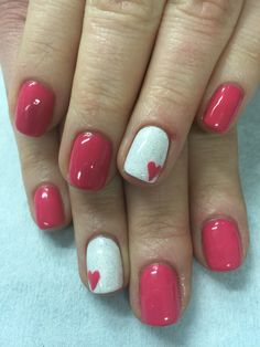 Who\'s Concerned About Valentine\'s Day Nails Gel Sparkle And Why You Need To Be Paying Attention 85 - apik Sns Nails Colors, Pink Nails, My Nails, Sparkle Nails, Hard Gel Nails, White Nails, Heart Nail Designs, Valentine's Day Nail Designs, Nails Design
