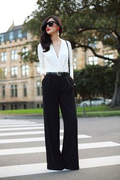 Tops [Blouses] (white, long sleeved) Trousers (black, wide leg, high waisted) Accessories [Belts] (black, leather) Accessories [Earrings] (red, diamond, dangling)  Accessories [Sun Glasses] (black, oversized) Accessories [Shoulder Bags] (black)