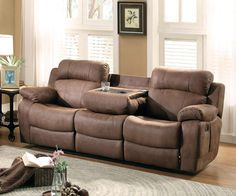 Shop Marille Brown Fabric Double Reclining Sofa w/Drop-Down Cup Holders with great price, The Classy Home Furniture has the best selection of to choose from Velvet Sleeper Sofa, Sectional Sleeper Sofa, Leather Reclining Sofa, Leather Bed, Reclining Couch, Fancy Living Rooms, Living Room Sofa, Apartment Sofa, Family Room Decorating