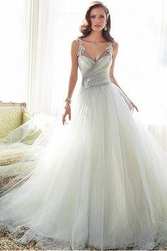 Elegant Tulle V-neck Neckline Natural Waistline A-line Wedding Dress With Beaded Lace Appliques
