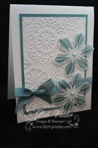 Lace meets A Beautiful Bunch Stamp Set with Deb Valder lovely-lace-embossing-folder-fun-flower-punch-beautiful-bunch-stamp-set-deb-valder-stampin-uplovely-lace-embossing-folder-fun-flower-punch-beautiful-bunch-stamp-set-deb-valder-stampin-up Cute Cards, Diy Cards, Birthday Cards For Women, Stencil, Embossed Cards, Flower Cards, Flower Stamp, Card Tags, Creative Cards