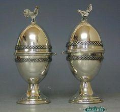 2 Sterling Silver Filigree Rooster Hen Egg Cups | eBay