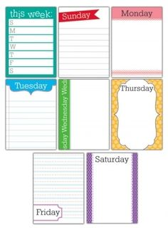 Project Life make my own days of the week journal cards Life Journal, Journal Pages, Bullet Journal, Journals, Project Life Freebies, Project Life Cards, Planner Pages, Life Planner, Planner Diy