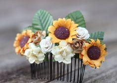 SunFlower Crown Hair Comb Rustic Wedding by weddingflowercrown