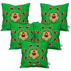 """indibni Colorful Lighting Diya Rangoli Green 18""""x18"""" Set of 5 Cushion Throw Pillow Cover, Decorative Pillow Case, Christmas Decorations for Bedroom-Home-Décor, Thanksgiving, Halloween, New Year Gifts * You can find more details by visiting the image link. (This is an affiliate link) #Bedding"""