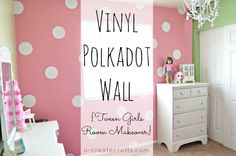 Could be an option to extend the pink stripes--add polka dots in a diff color. Vinyl Polkadot Wall from ucreate #tweenbedroom #polkadot #vinyl