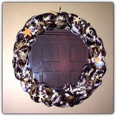 Cape Cod Shell Design custom mirror. Exclusive design titled; Cape Cod Starry Night.