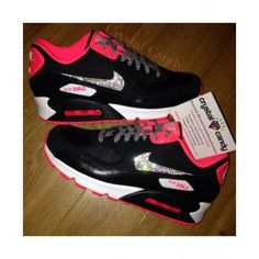 low priced 5848a 89b62 Nike Air Max 90 Candy Black Pink Crystal Shoes