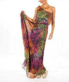 Fuschia & Orange Asymmetrical Maxi Dress - Women