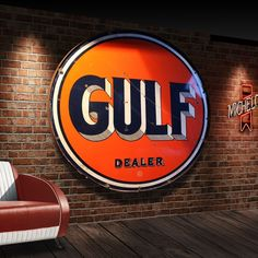 Gulf Oil vintage enamel sign from The Games Room Company Vintage Advertising Signs, Vintage Advertisements, Luxury Gifts For Men, American Manufacturing, Metal Signs, Boy Room, Game Room, Are You The One, Retro