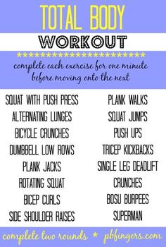 Total Body Workout - Peanut Butter Fingers
